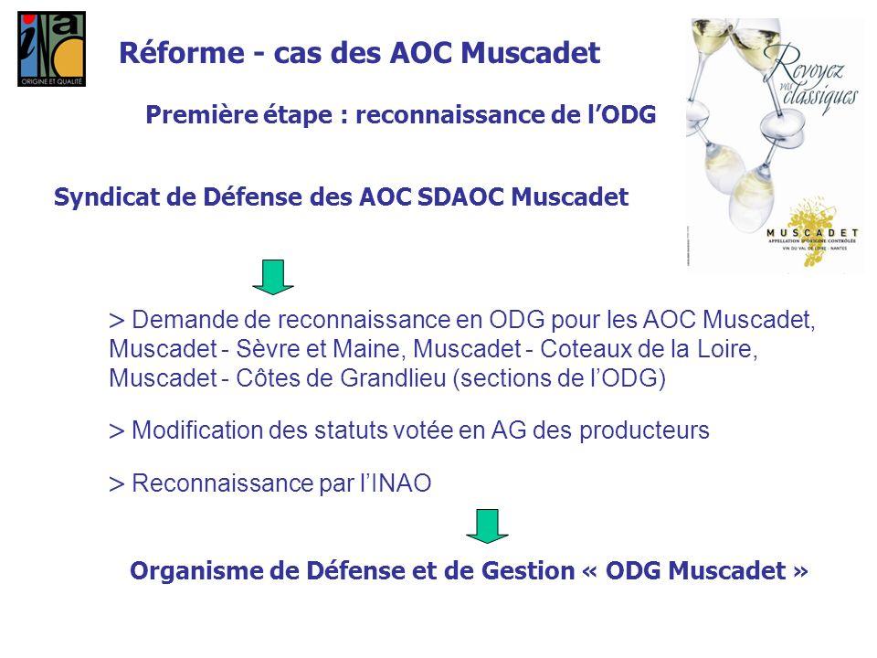 Réforme - cas des AOC Muscadet Première étape : reconnaissance de lODG Syndicat de Défense des AOC SDAOC Muscadet Demande de reconnaissance en ODG pou