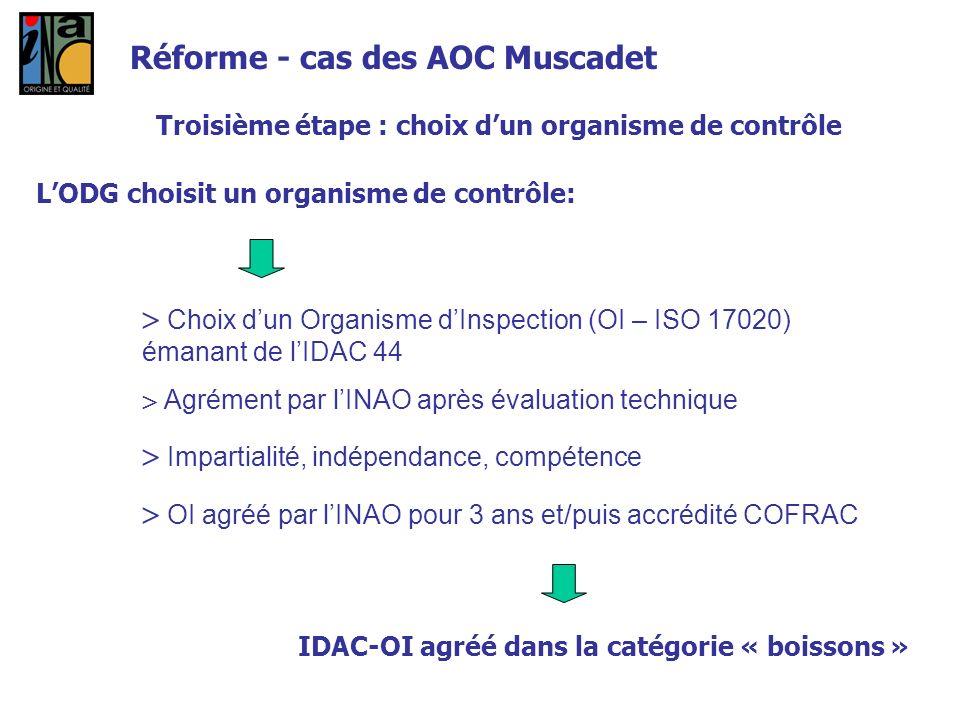 Troisième étape : choix dun organisme de contrôle LODG choisit un organisme de contrôle: Choix dun Organisme dInspection (OI – ISO 17020) émanant de l