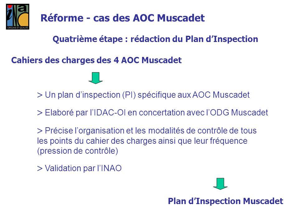 Quatrième étape : rédaction du Plan dInspection Cahiers des charges des 4 AOC Muscadet Un plan dinspection (PI) spécifique aux AOC Muscadet Elaboré pa