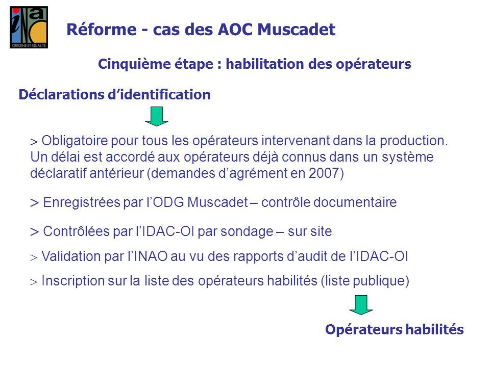 Cinquième étape : habilitation des opérateurs Déclarations didentification Obligatoire pour tous les opérateurs intervenant dans la production. Un dél