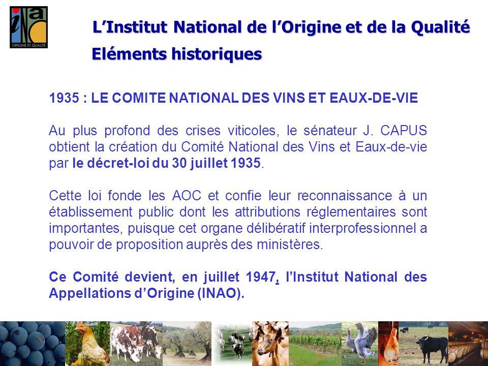 24/02/20145 LInstitut National de lOrigine et de la Qualité 1935 : LE COMITE NATIONAL DES VINS ET EAUX-DE-VIE Au plus profond des crises viticoles, le