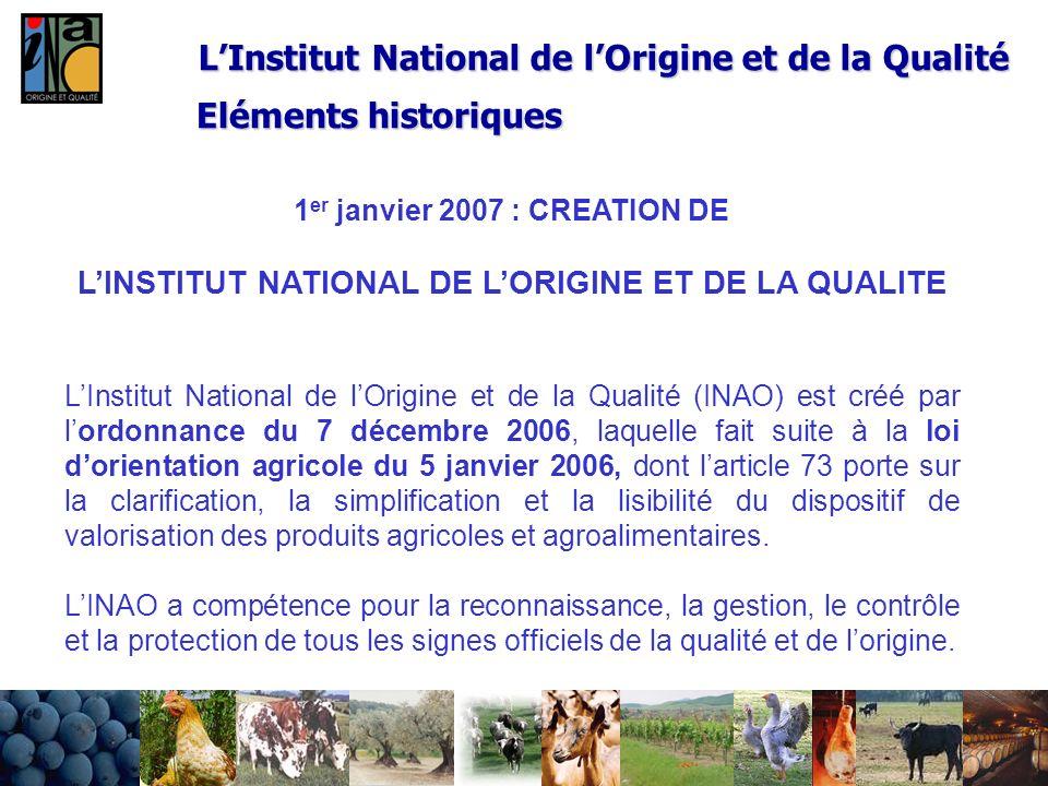 24/02/20148 LInstitut National de lOrigine et de la Qualité 1 er janvier 2007 : CREATION DE LINSTITUT NATIONAL DE LORIGINE ET DE LA QUALITE LInstitut