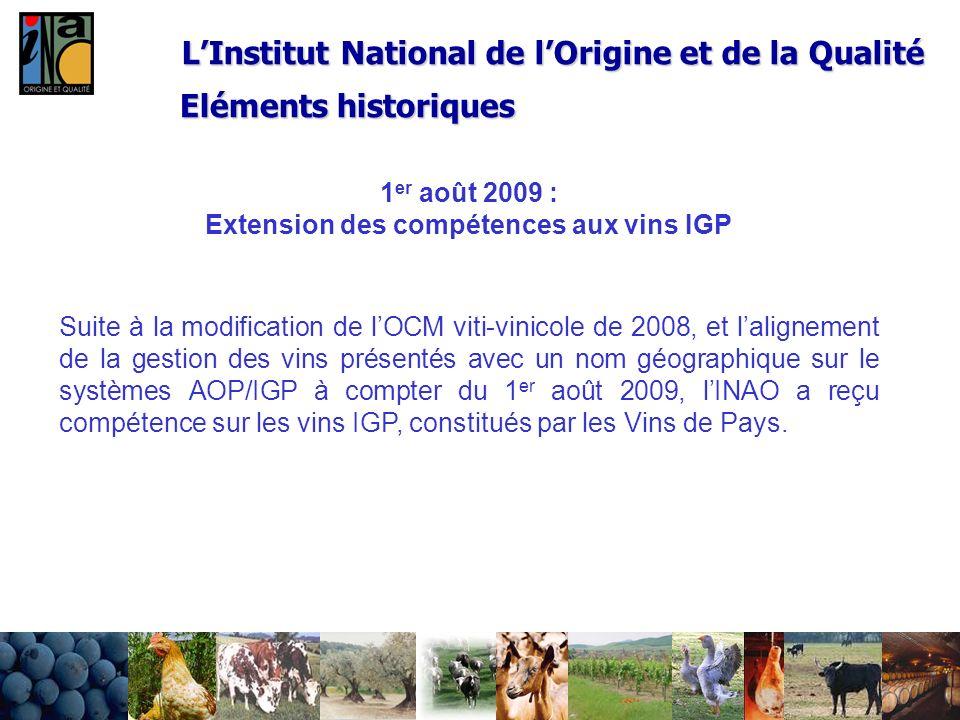 24/02/20149 LInstitut National de lOrigine et de la Qualité 1 er août 2009 : Extension des compétences aux vins IGP Suite à la modification de lOCM vi