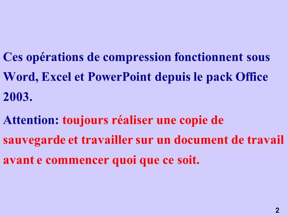 Ces opérations de compression fonctionnent sous Word, Excel et PowerPoint depuis le pack Office 2003.