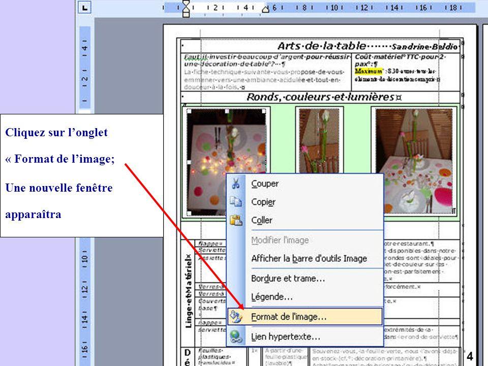 Cliquez sur longlet « Format de limage; Une nouvelle fenêtre apparaîtra 4