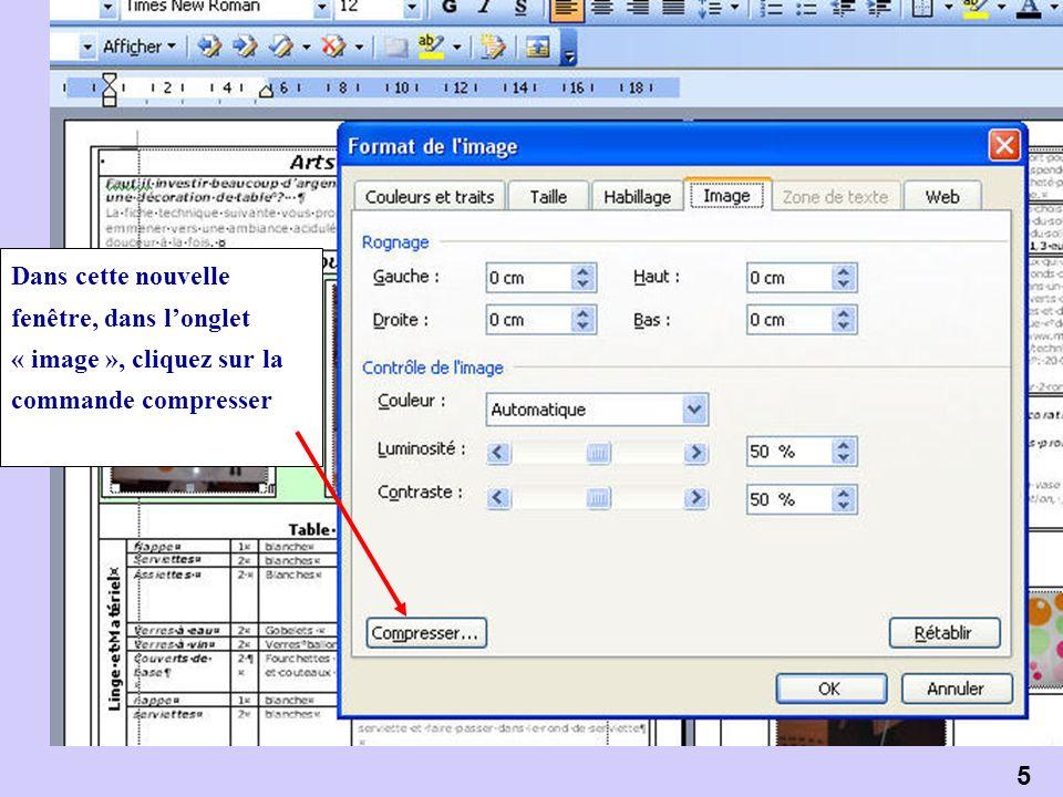 6 Sélectionnez « Toutes les images du document » et « Impression » = 200 points par pouce (Site Web/écran compresse encore plus, avec une résolution de 72 ppp) Cliquer sur « OK »