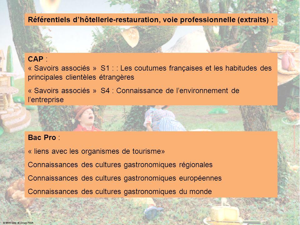 Référentiels dhôtellerie-restauration, voie professionnelle (extraits) : CAP : « Savoirs associés » S1 : : Les coutumes françaises et les habitudes de