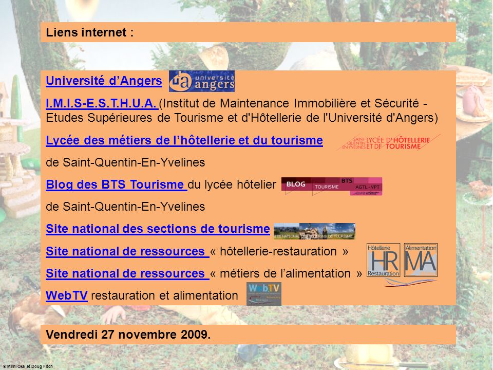 Liens internet pour voyager avec gourmandise: - http://www.eurogusto.org/pagine/fra/welcome.lassohttp://www.eurogusto.org/pagine/fra/welcome.lasso - http://www.baladesgourmandes.com/http://www.baladesgourmandes.com/ - http://www.selectour.com/http://www.selectour.com/ Trois sites… Mais : - les mots «voyage gastronomique en France » génèrent avec Google 4 700 000 résultats .