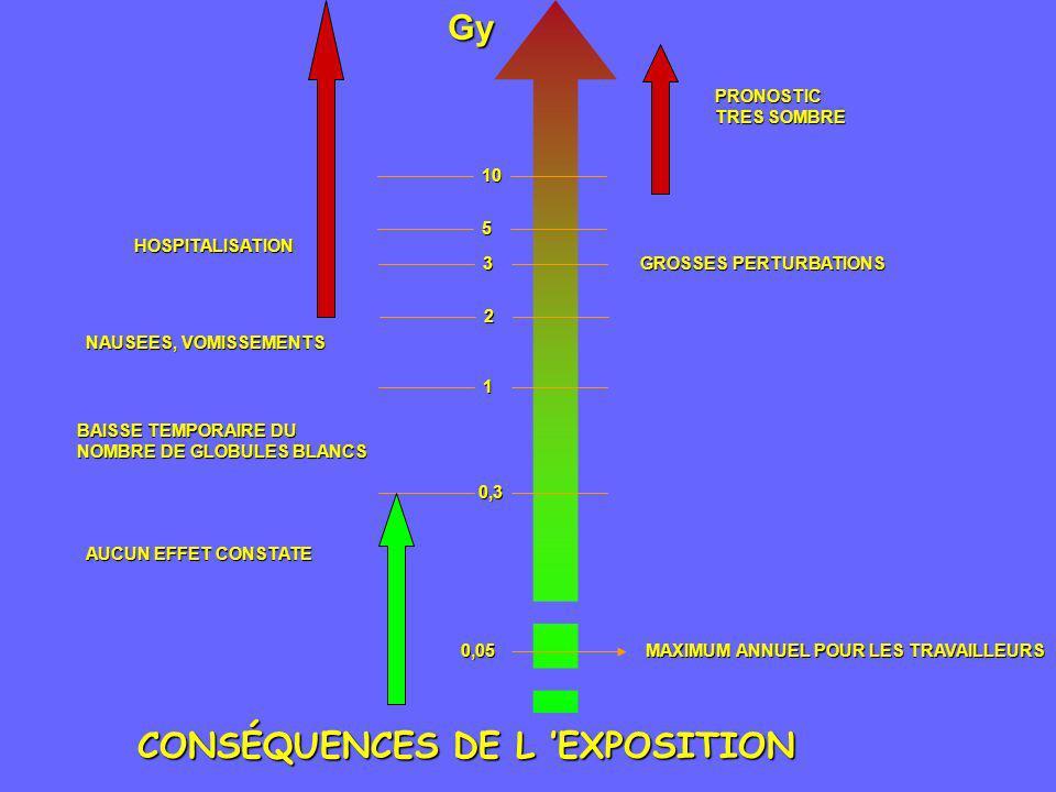 CONSÉQUENCES DE L EXPOSITION Gy0,3 0,05 MAXIMUM ANNUEL POUR LES TRAVAILLEURS AUCUN EFFET CONSTATE AUCUN EFFET CONSTATE 1 2 3 5 10 10 BAISSE TEMPORAIRE