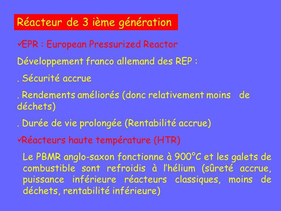 Réacteur de 3 ième génération EPR : European Pressurized Reactor Développement franco allemand des REP :. Sécurité accrue. Rendements améliorés (donc