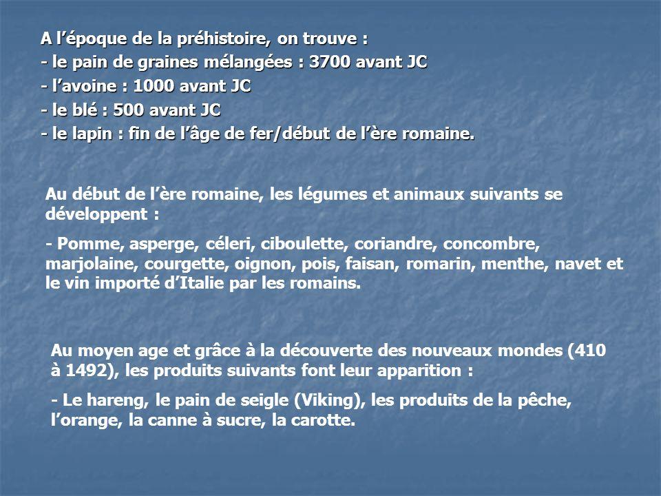 A lépoque de la préhistoire, on trouve : - le pain de graines mélangées : 3700 avant JC - lavoine : 1000 avant JC - le blé : 500 avant JC - le lapin :
