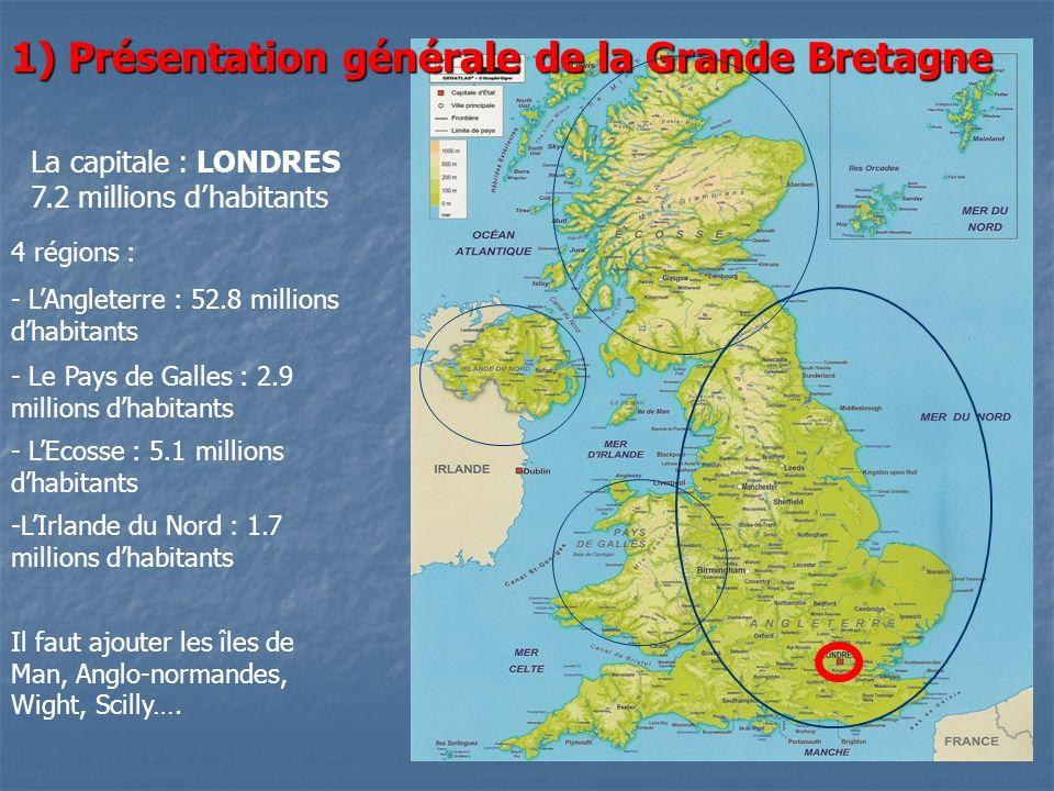 1) Présentation générale de la Grande Bretagne La capitale : LONDRES 7.2 millions dhabitants 4 régions : - LAngleterre : 52.8 millions dhabitants - Le