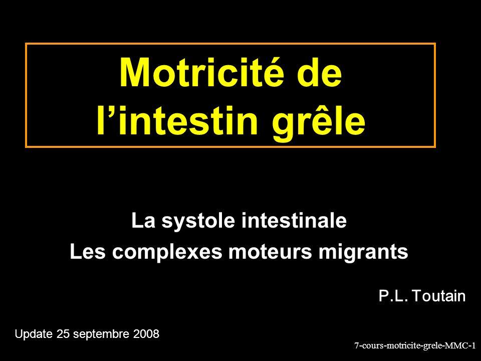 7-cours-motricite-grele-MMC-22 Nature des contractions intestinales pendant le CMM Les contractions sont: Phase II –« segmentaires » (brassage) c.à.d.