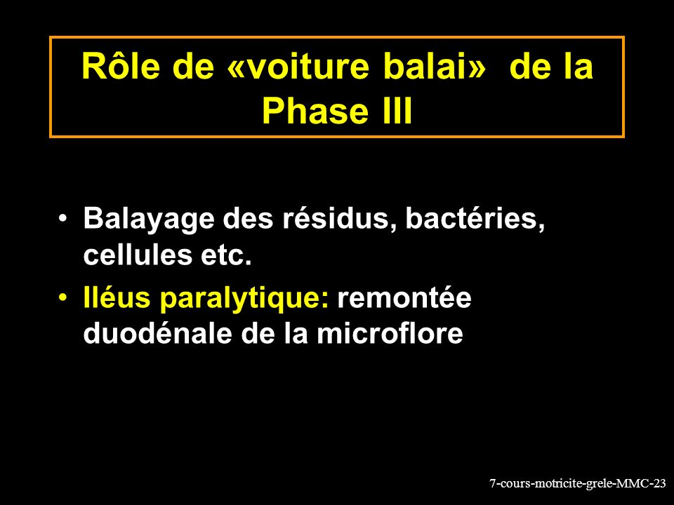 7-cours-motricite-grele-MMC-23 Rôle de «voiture balai» de la Phase III Balayage des résidus, bactéries, cellules etc. Iléus paralytique: remontée duod