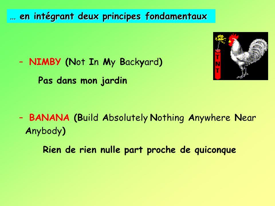 – NIMBY (Not In My Backyard) Pas dans mon jardin – BANANA (Build Absolutely Nothing Anywhere Near Anybody) Rien de rien nulle part proche de quiconque … en intégrant deux principes fondamentaux