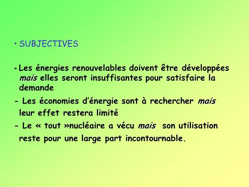 OBJECTIVES - La demande énergétique ne pourra que croître dans le monde. - Les enjeux environnementaux sont cruciaux. - Problème grave et préoccupant
