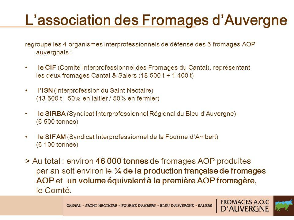 Lassociation des Fromages dAuvergne regroupe les 4 organismes interprofessionnels de défense des 5 fromages AOP auvergnats : le CIF (Comité Interprofessionnel des Fromages du Cantal), représentant les deux fromages Cantal & Salers (18 500 t + 1 400 t) lISN (Interprofession du Saint Nectaire) (13 500 t - 50% en laitier / 50% en fermier) le SIRBA (Syndicat Interprofessionnel Régional du Bleu dAuvergne) (6 500 tonnes) le SIFAM (Syndicat Interprofessionnel de la Fourme dAmbert) (6 100 tonnes) > Au total : environ 46 000 tonnes de fromages AOP produites par an soit environ le ¼ de la production française de fromages AOP et un volume équivalent à la première AOP fromagère, le Comté.