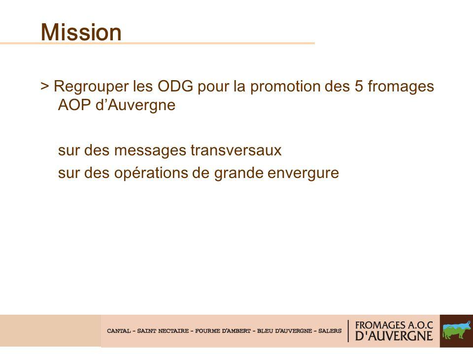 Mission > Regrouper les ODG pour la promotion des 5 fromages AOP dAuvergne sur des messages transversaux sur des opérations de grande envergure