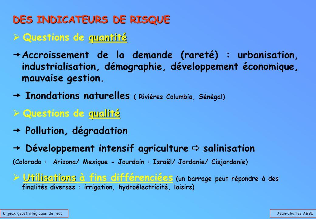 Jean-Charles ABBEEnjeux géostratégiques de leau DES INDICATEURS DE RISQUE quantité Questions de quantité Accroissement de la demande (rareté) : urbani