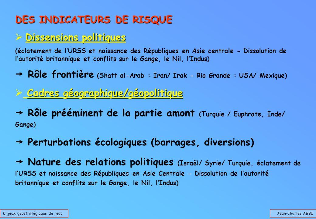 Jean-Charles ABBEEnjeux géostratégiques de leau DES INDICATEURS DE RISQUE Dissensions politiques (éclatement de lURSS et naissance des Républiques en
