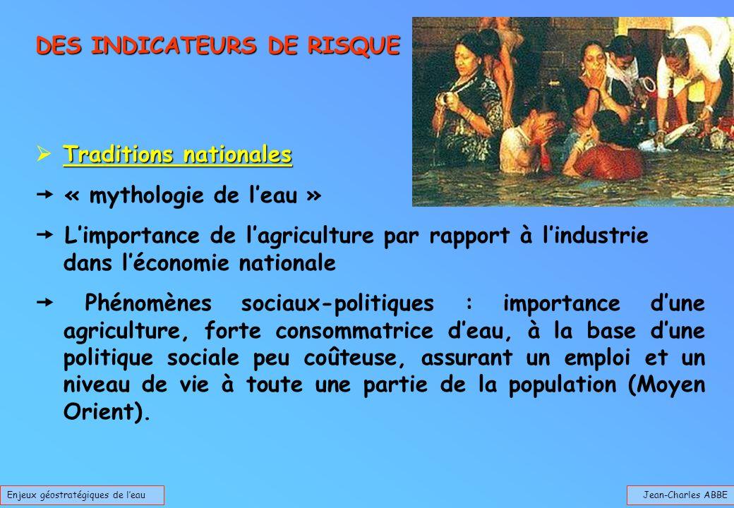 Jean-Charles ABBEEnjeux géostratégiques de leau DES INDICATEURS DE RISQUE Traditions nationales « mythologie de leau » Limportance de lagriculture par