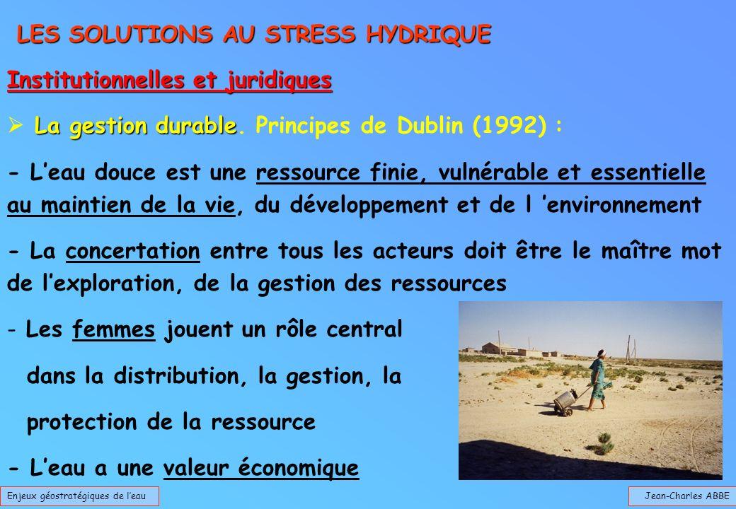 Jean-Charles ABBEEnjeux géostratégiques de leau LES SOLUTIONS AU STRESS HYDRIQUE LES SOLUTIONS AU STRESS HYDRIQUE Institutionnelles et juridiques La g
