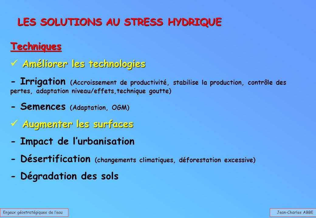 Jean-Charles ABBEEnjeux géostratégiques de leau Techniques Améliorer les technologies - Irrigation (Accroissement de productivité, stabilise la produc