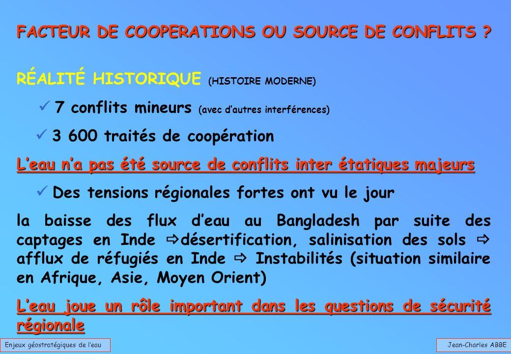 Jean-Charles ABBE FACTEUR DE COOPERATIONS OU SOURCE DE CONFLITS ? Enjeux géostratégiques de leau RÉALITÉ HISTORIQUE (HISTOIRE MODERNE) 7 conflits mine