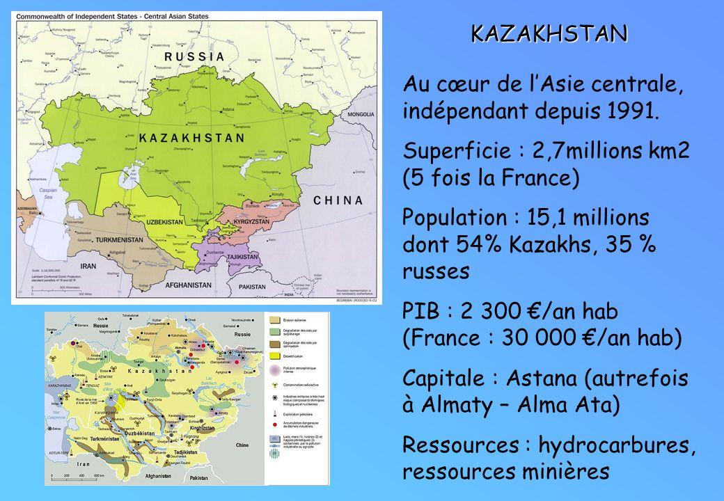 KAZAKHSTAN Au cœur de lAsie centrale, indépendant depuis 1991. Superficie : 2,7millions km2 (5 fois la France) Population : 15,1 millions dont 54% Kaz