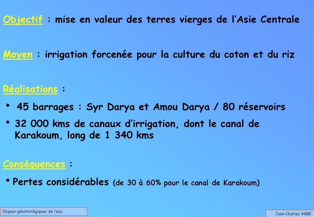 Jean-Charles ABBE Enjeux géostratégiques de leau Objectif : mise en valeur des terres vierges de lAsie Centrale Moyen : irrigation forcenée pour la culture du coton et du riz Réalisations : 45 barrages : Syr Darya et Amou Darya / 80 réservoirs 32 000 kms de canaux dirrigation, dont le canal de Karakoum, long de 1 340 kms Conséquences : Pertes considérables (de 30 à 60% pour le canal de Karakoum)