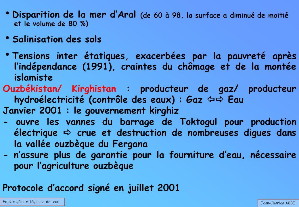 Jean-Charles ABBE Disparition de la mer dAral (de 60 à 98, la surface a diminué de moitié et le volume de 80 %) Salinisation des sols Tensions inter étatiques, exacerbées par la pauvreté après lindépendance (1991), craintes du chômage et de la montée islamiste Ouzbékistan/ Kirghistan : producteur de gaz/ producteur hydroélectricité (contrôle des eaux) : Gaz Eau Janvier 2001 : le gouvernement kirghiz - ouvre les vannes du barrage de Toktogul pour production électrique crue et destruction de nombreuses digues dans la vallée ouzbèque du Fergana - nassure plus de garantie pour la fourniture deau, nécessaire pour lagriculture ouzbèque Protocole daccord signé en juillet 2001 Enjeux géostratégiques de leau