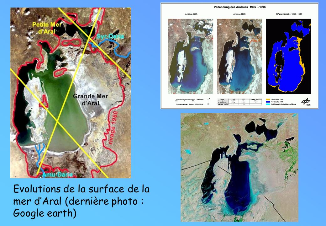 Evolutions de la surface de la mer dAral (dernière photo : Google earth)