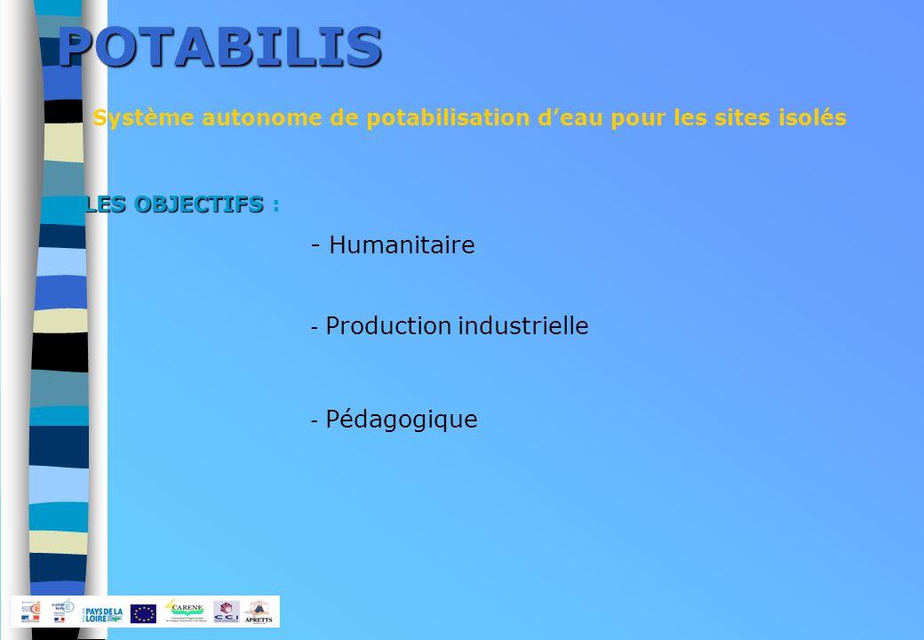 POTABILIS Système autonome de potabilisation deau pour les sites isolés - Pédagogique - Humanitaire - Production industrielle LES OBJECTIFS LES OBJECTIFS :