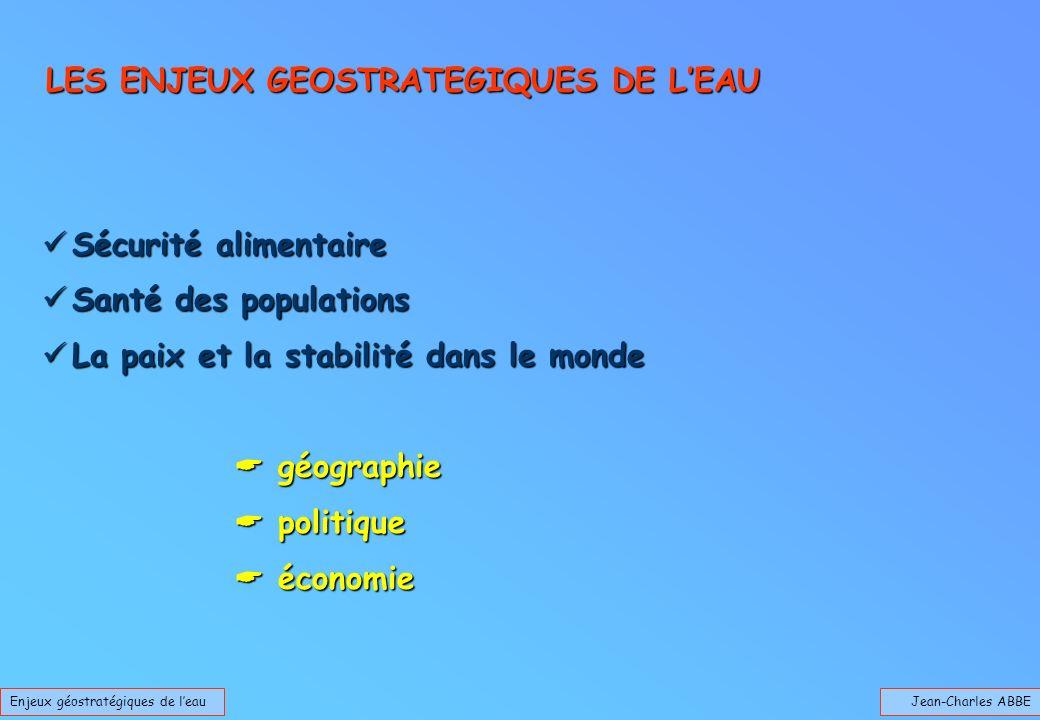 Jean-Charles ABBEEnjeux géostratégiques de leau LES ENJEUX GEOSTRATEGIQUES DE LEAU Sécurité alimentaire Sécurité alimentaire Santé des populations San