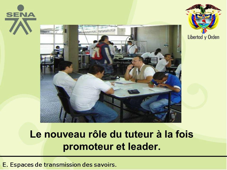 Le nouveau rôle du tuteur à la fois promoteur et leader. E. Espaces de transmission des savoirs.