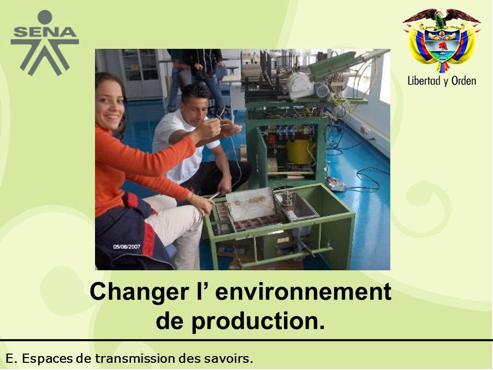 Changer l environnement de production. E. Espaces de transmission des savoirs.