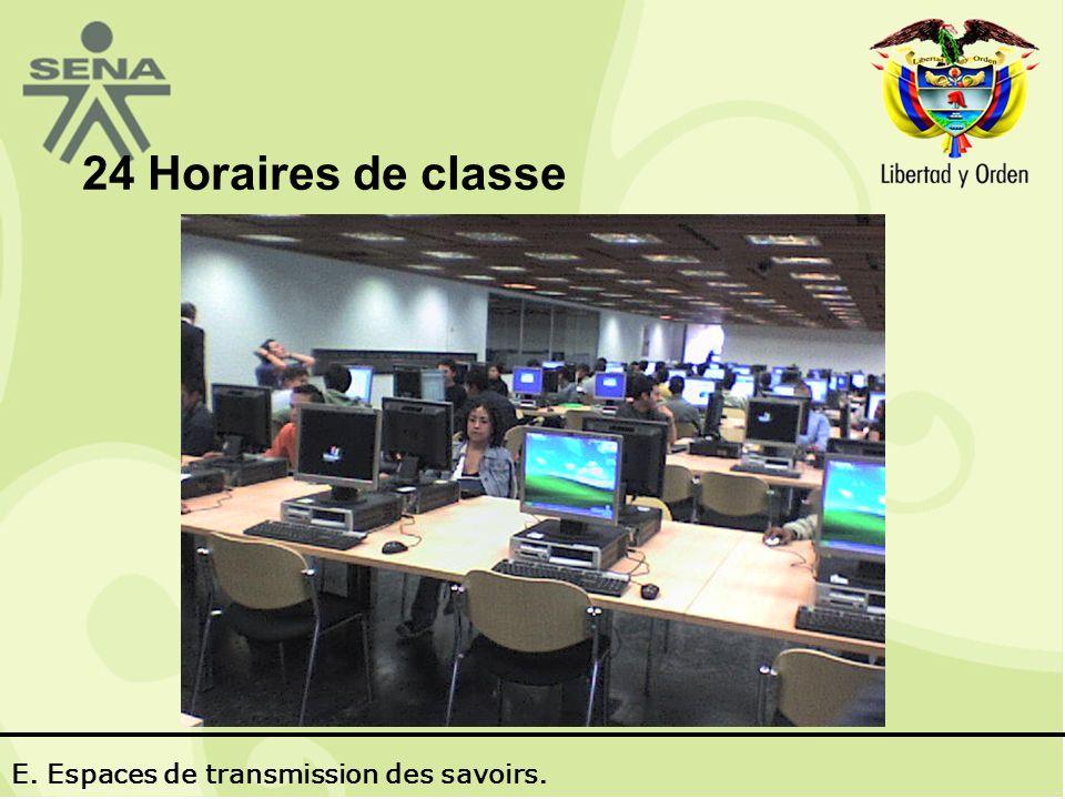 24 Horaires de classe E. Espaces de transmission des savoirs.