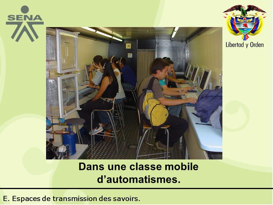 Dans une classe mobile dautomatismes. E. Espaces de transmission des savoirs.
