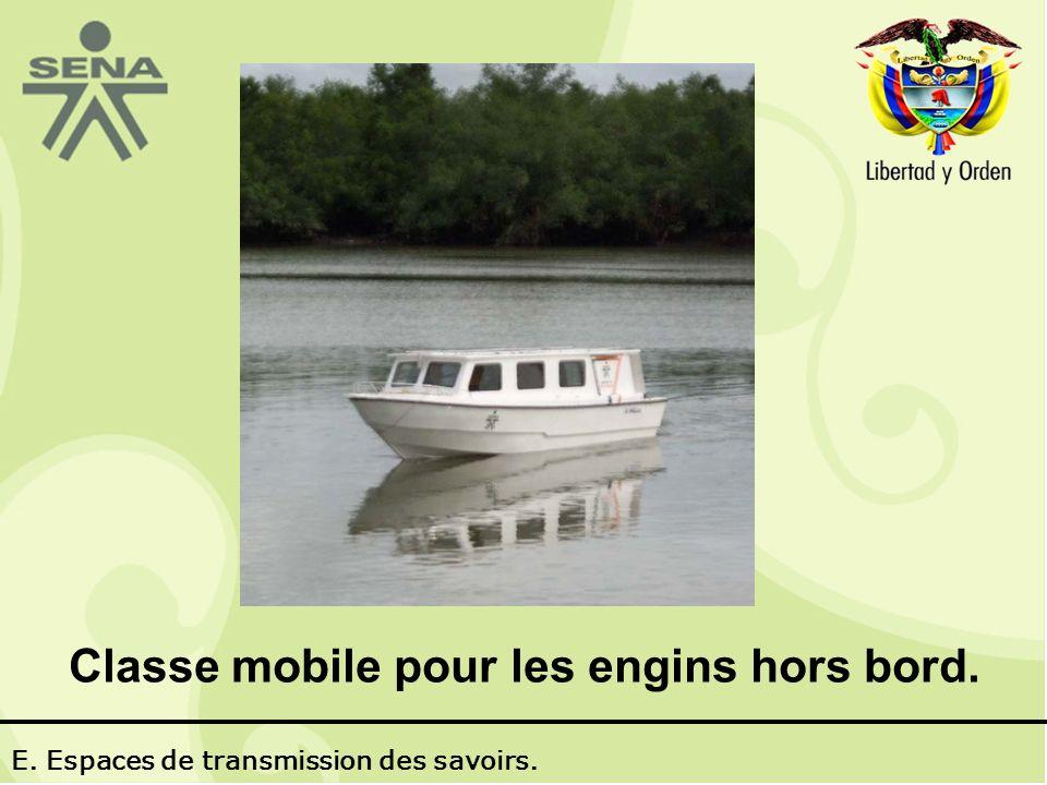 Classe mobile pour les engins hors bord. E. Espaces de transmission des savoirs.