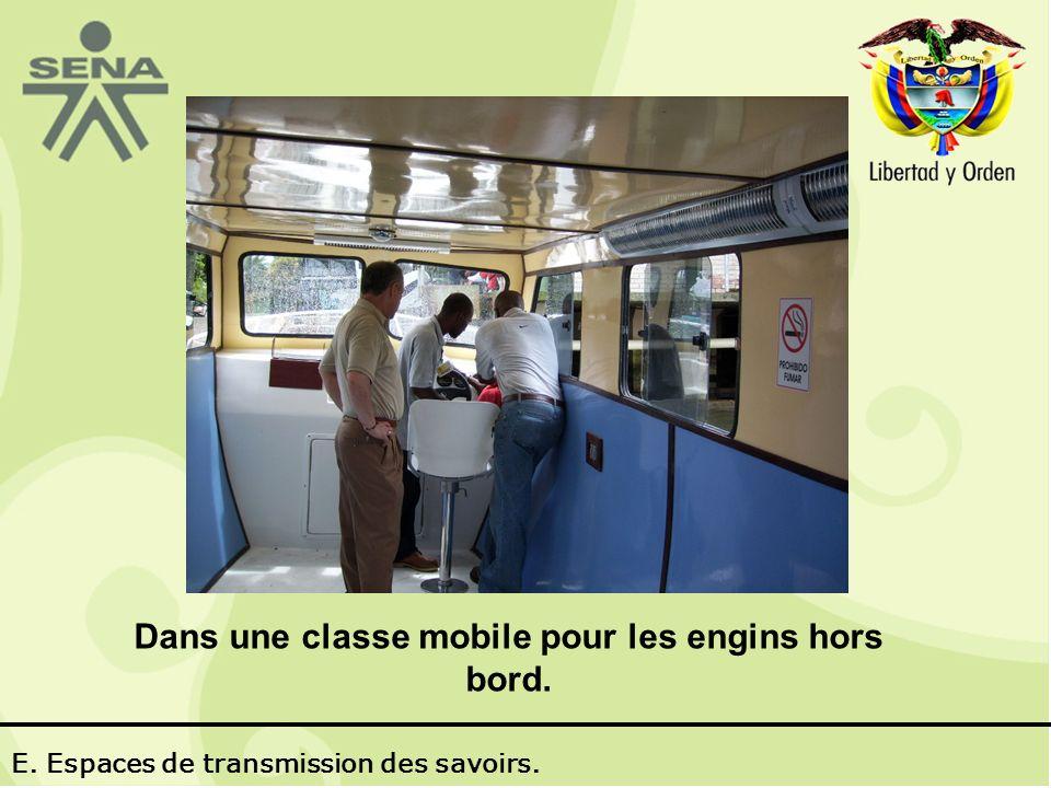 Dans une classe mobile pour les engins hors bord. E. Espaces de transmission des savoirs.
