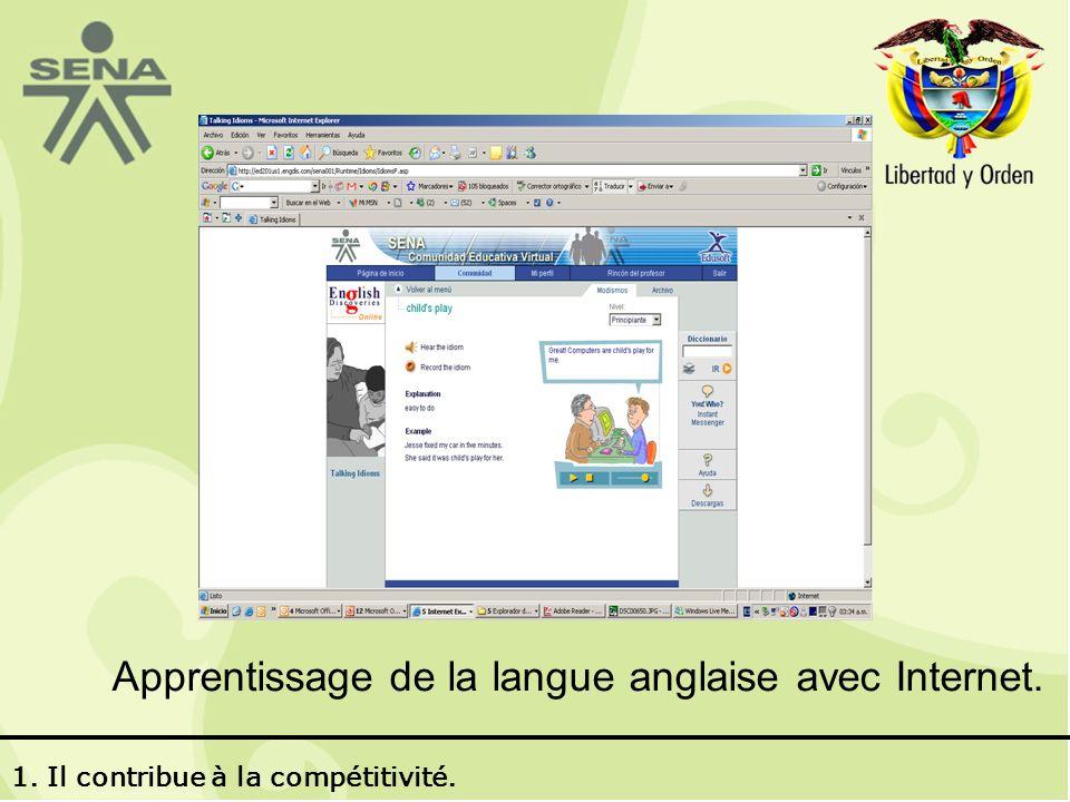 Apprentissage de la langue anglaise avec Internet. 1. Il contribue à la compétitivité.