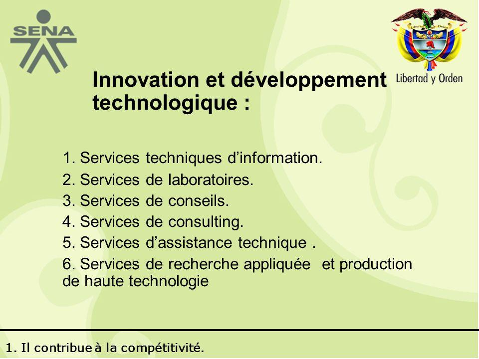 Innovation et développement technologique : 1. Services techniques dinformation.