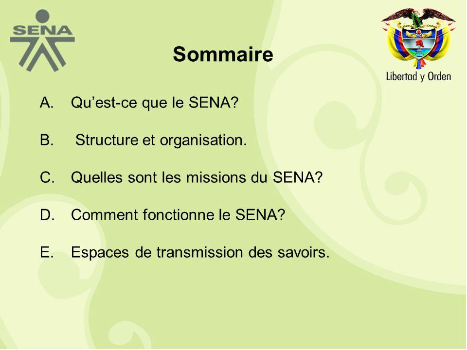 A.Quest-ce que le SENA. B. Structure et organisation.