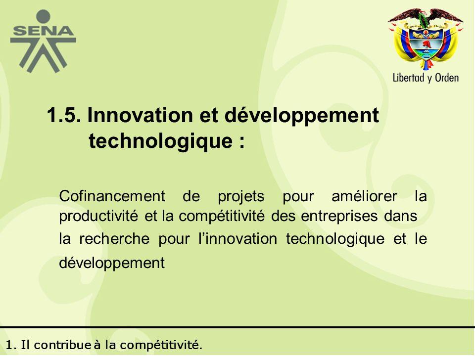 1.5. Innovation et développement technologique : Cofinancement de projets pour améliorer la productivité et la compétitivité des entreprises dans la r