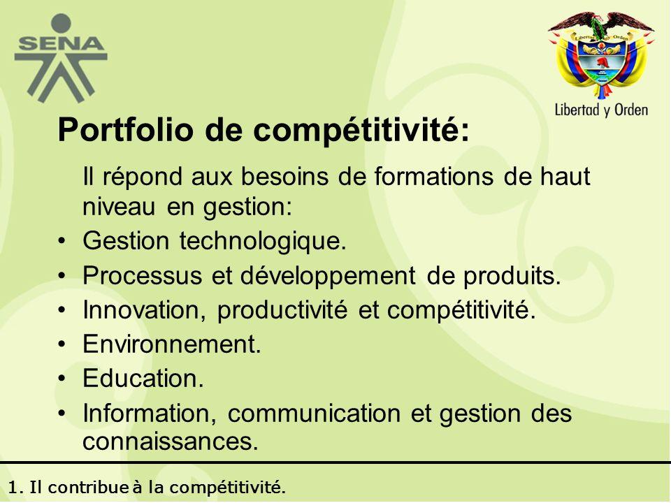 Portfolio de compétitivité: Il répond aux besoins de formations de haut niveau en gestion: Gestion technologique.