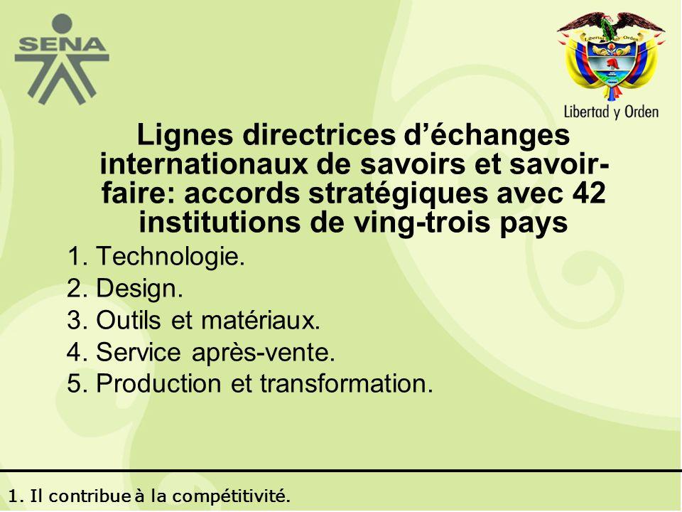Lignes directrices déchanges internationaux de savoirs et savoir- faire: accords stratégiques avec 42 institutions de ving-trois pays 1.