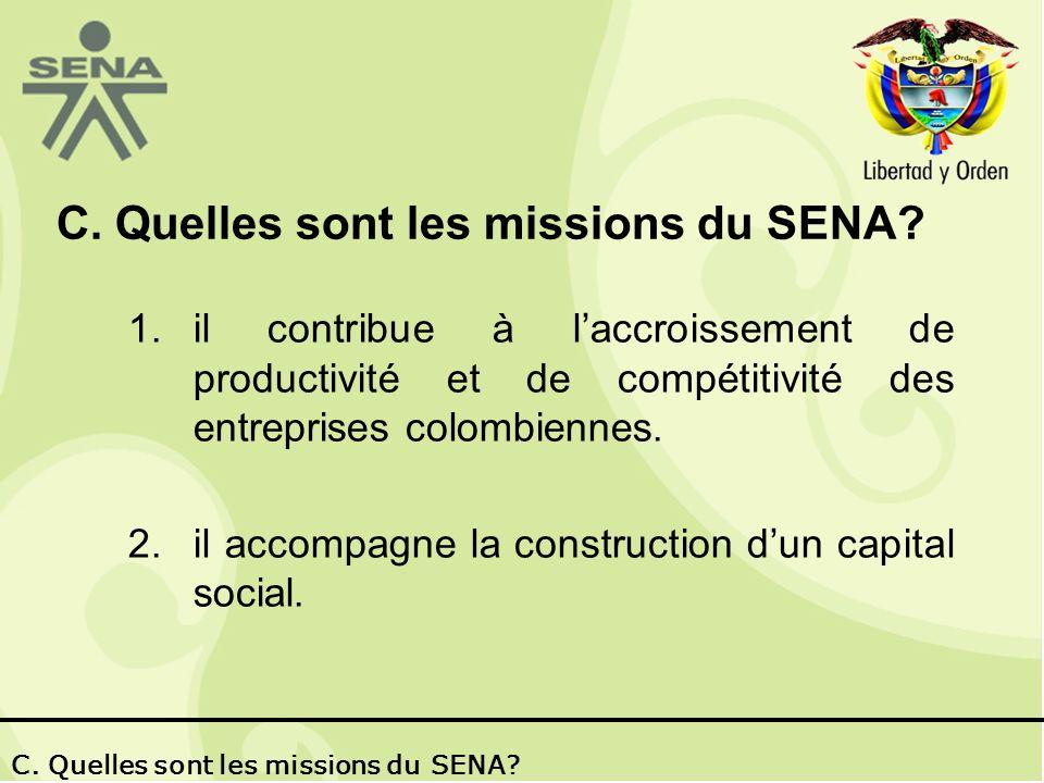 C.Quelles sont les missions du SENA. 2. Il conduit à la construction dun capital social.