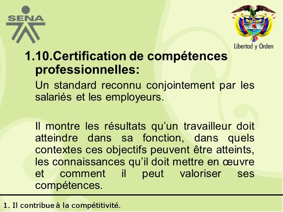 1.10.Certification de compétences professionnelles: Un standard reconnu conjointement par les salariés et les employeurs.