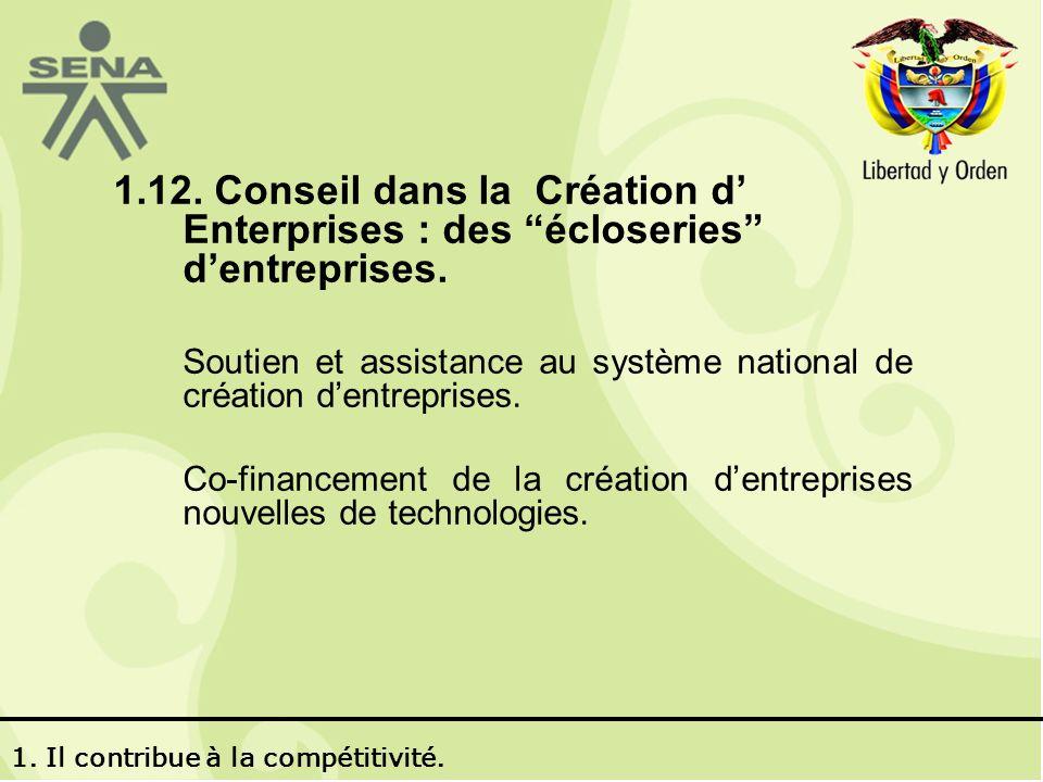 1.12. Conseil dans la Création d Enterprises : des écloseries dentreprises.