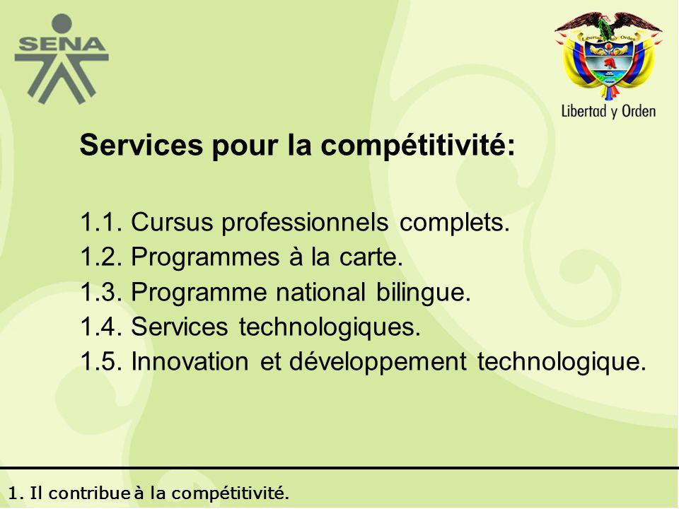 Services pour la compétitivité: 1.1.Cursus professionnels complets.